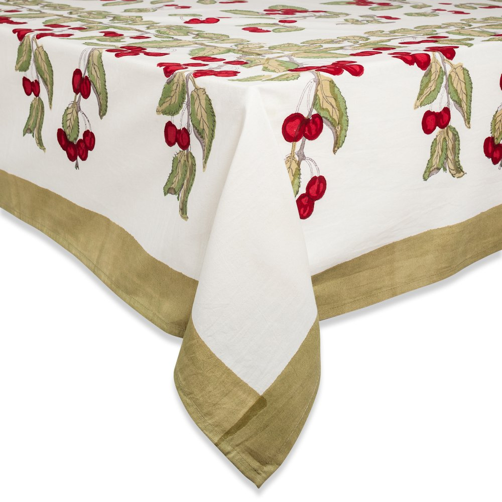 Amazon.com: Couleur Nature Cherry Red/Green Tablecloth, 59x86: Home U0026  Kitchen