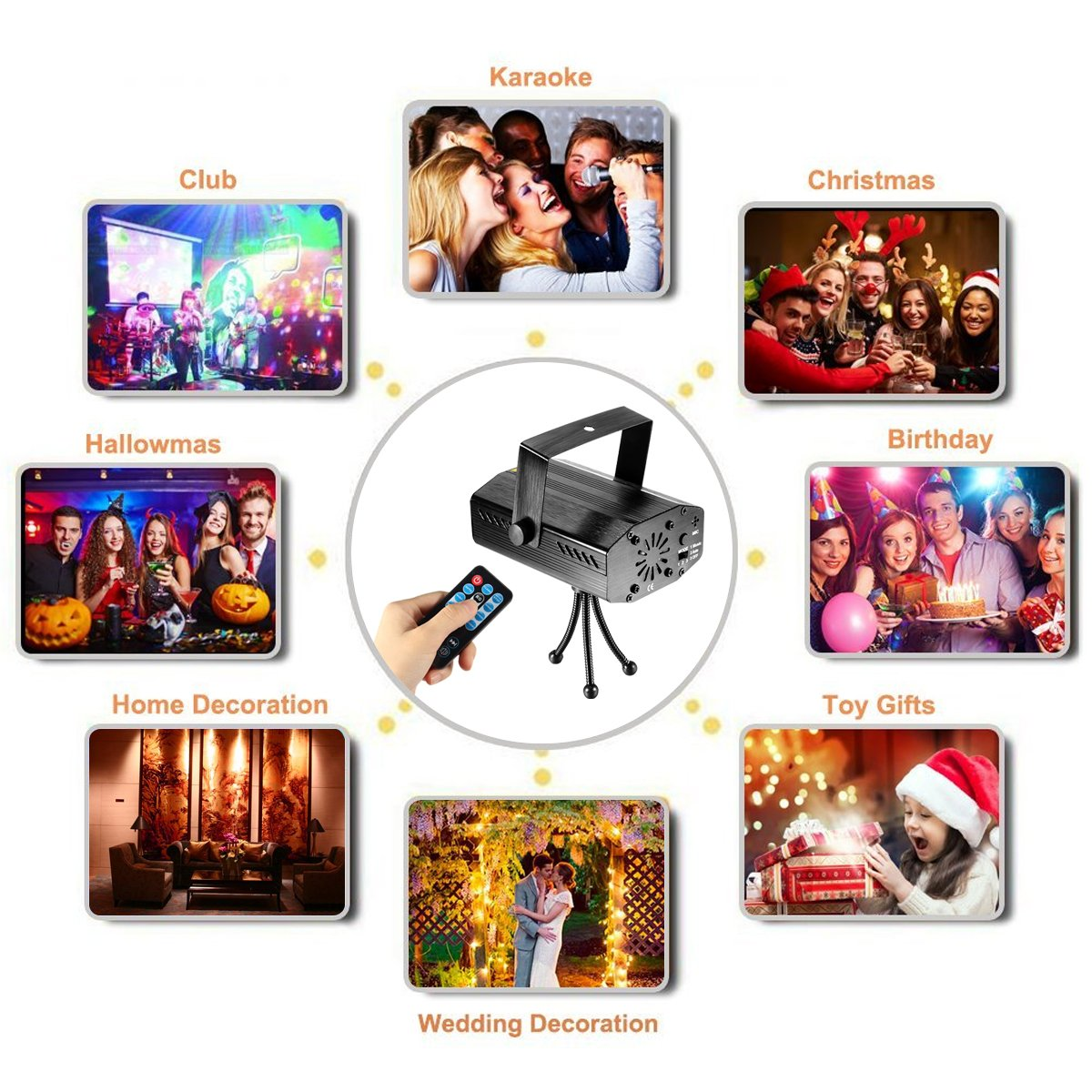 LED Projector Laser Lights Blingco Mini Auto Flash RG Led Stage Lights Sound Activated for DJ Disco Party Home Show Birthday Party Wedding Stage Lighting with Remote Control Black