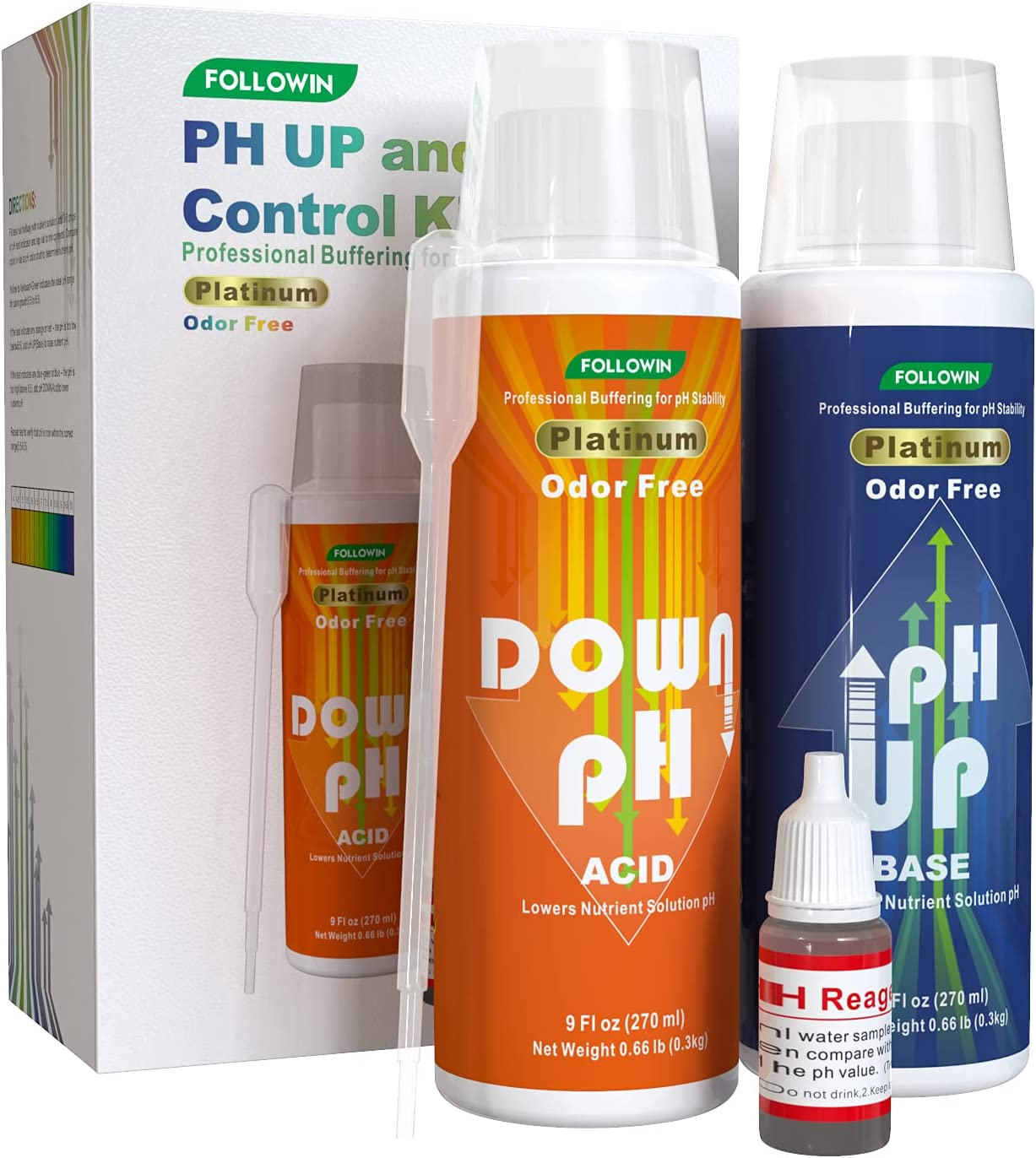 FOLLOWIN pH Up and Down Control Kit for Soil hydroponics Plants A Balanced Nutrient Solution (9oz+9oz)
