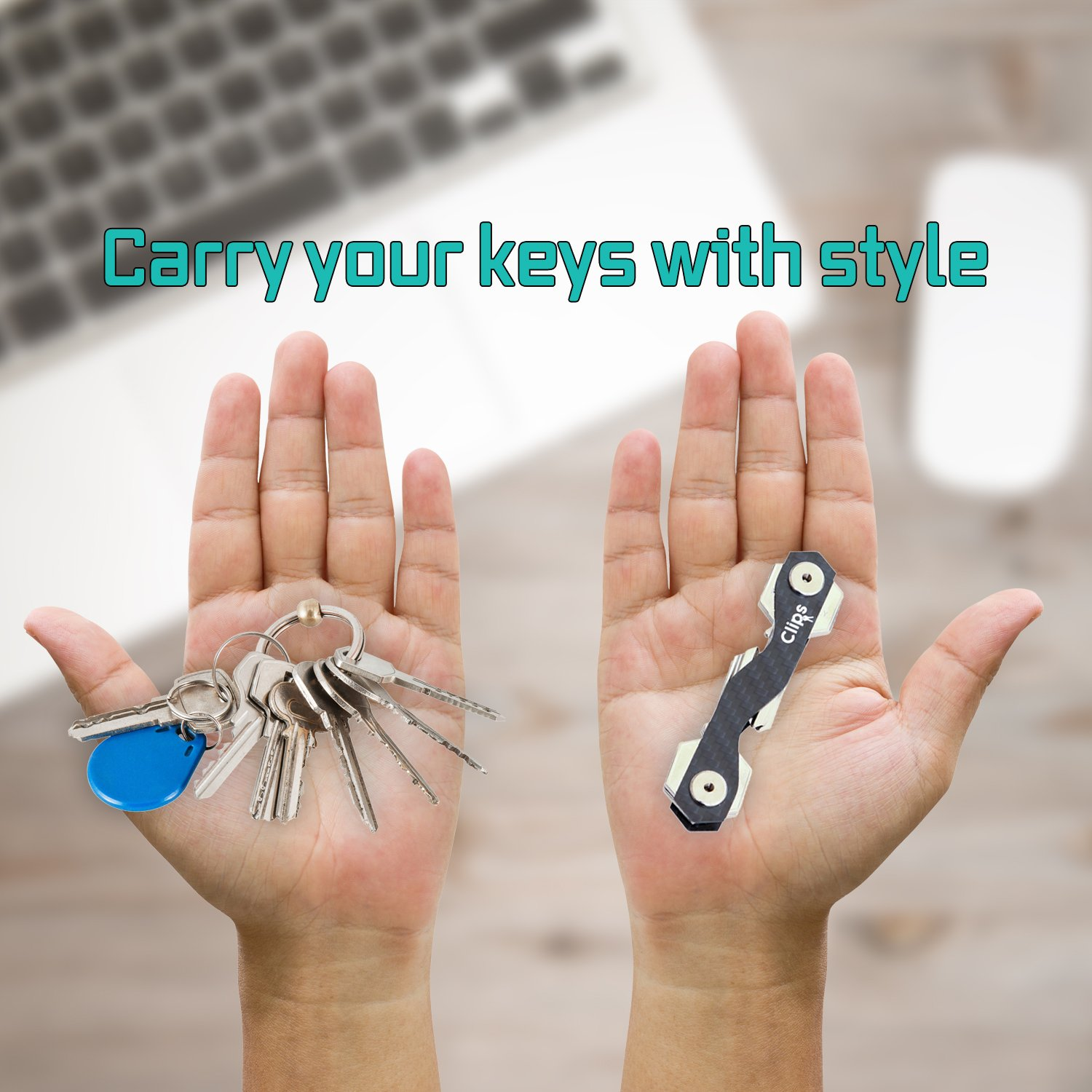 Smart Compact Key Holder Keychain - Made of Carbon Fiber & Stainless Steel- Pocket Organizer Up to 18 Keys- Lightweight, Strong-Key Gadget Includes Sim & Bottle Opener, Carabiner & More (Black) by clips (Image #4)