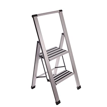 Excellent Aluminum Folding 2 Step Ladder Anti Slip Sturdy Machost Co Dining Chair Design Ideas Machostcouk