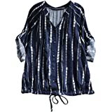Bovake Womens Casual Solid Long Sleeve Striped Drawstring Lace up Top Blouse Plus Size UK8~22