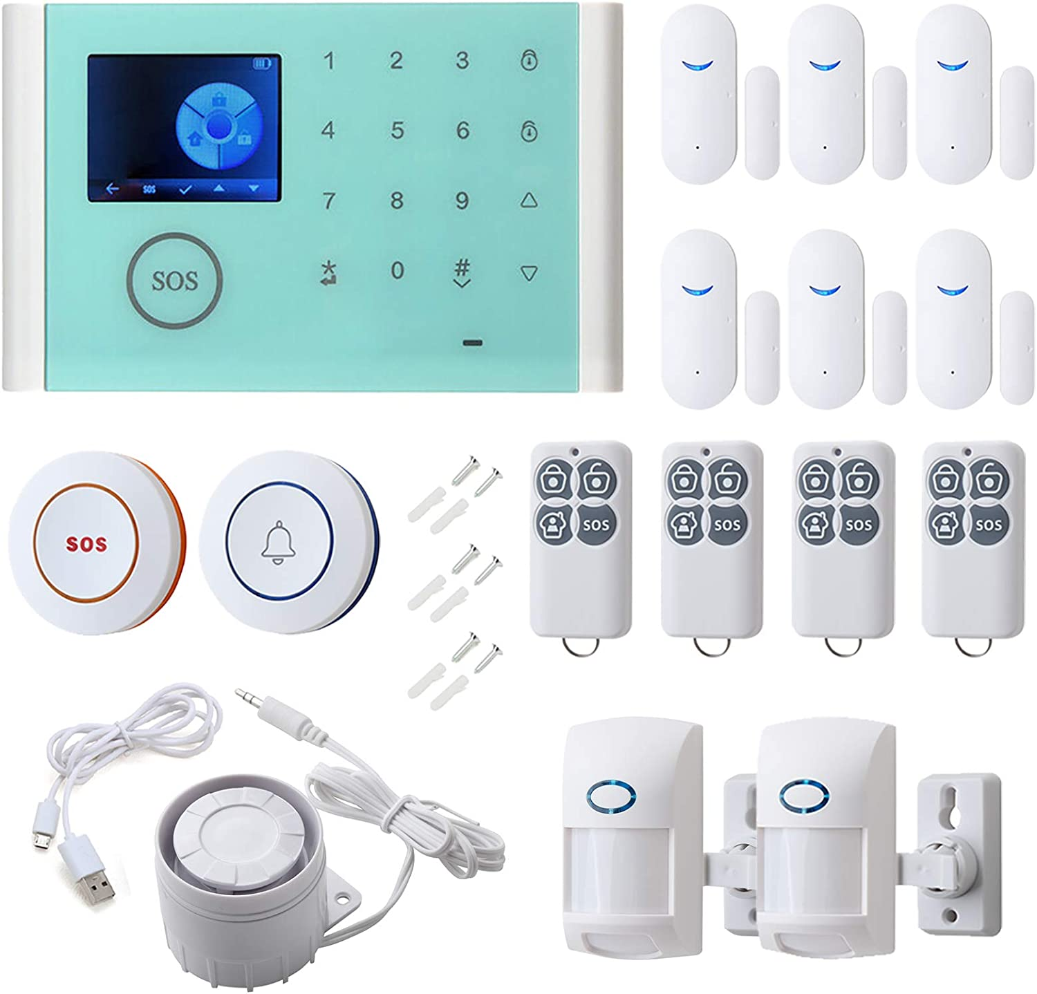 16pcs Smart Home Alarm System - Door Sensor PIR Detector LED Touch Screen, SMS Call Auto Dial and APP Remote Control, WiFi+GSM +GPRS Security System Burglar Alarm DIY Kit for House Office Business