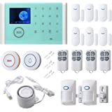 16pcs Smart Home Alarm System - Door Sensor PIR Detector LED Touch Screen, SMS Call Auto Dial and APP Remote Control, WiFi+GS
