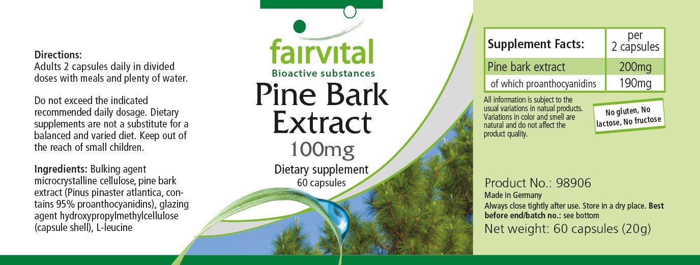 Extracto de corteza de pino 100 mg - 1 mes - VEGANO - ALTA DOSIS 60 cápsulas - estandarizado a 95% de proantocianidinas: Amazon.es: Salud y cuidado personal