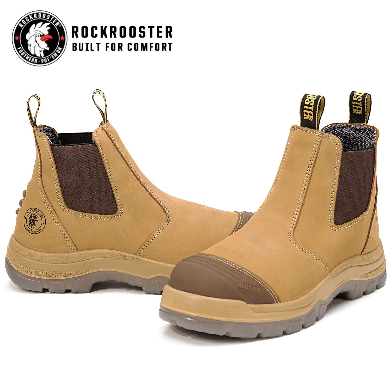 Full Waxy Tumbled Leather Shoes AK227, AK222 ROCKROOSTER Work Boots for Men Coolmax Non-Slip Safety Boot Antistatic Poron XRD EEE-Wide Steel Toe