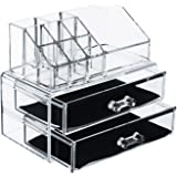 Premium Make-up and Jewellery Cosmetic Organiser   2 Tier Clear Acrylic Make-up Organizer with Draws - Extra Thick Acrylic Make up Box - Makeup Organizer bag Cosmetic Storage Multifunction - Make up Nail Varnish Display Stand - 12 Sections (medium size)