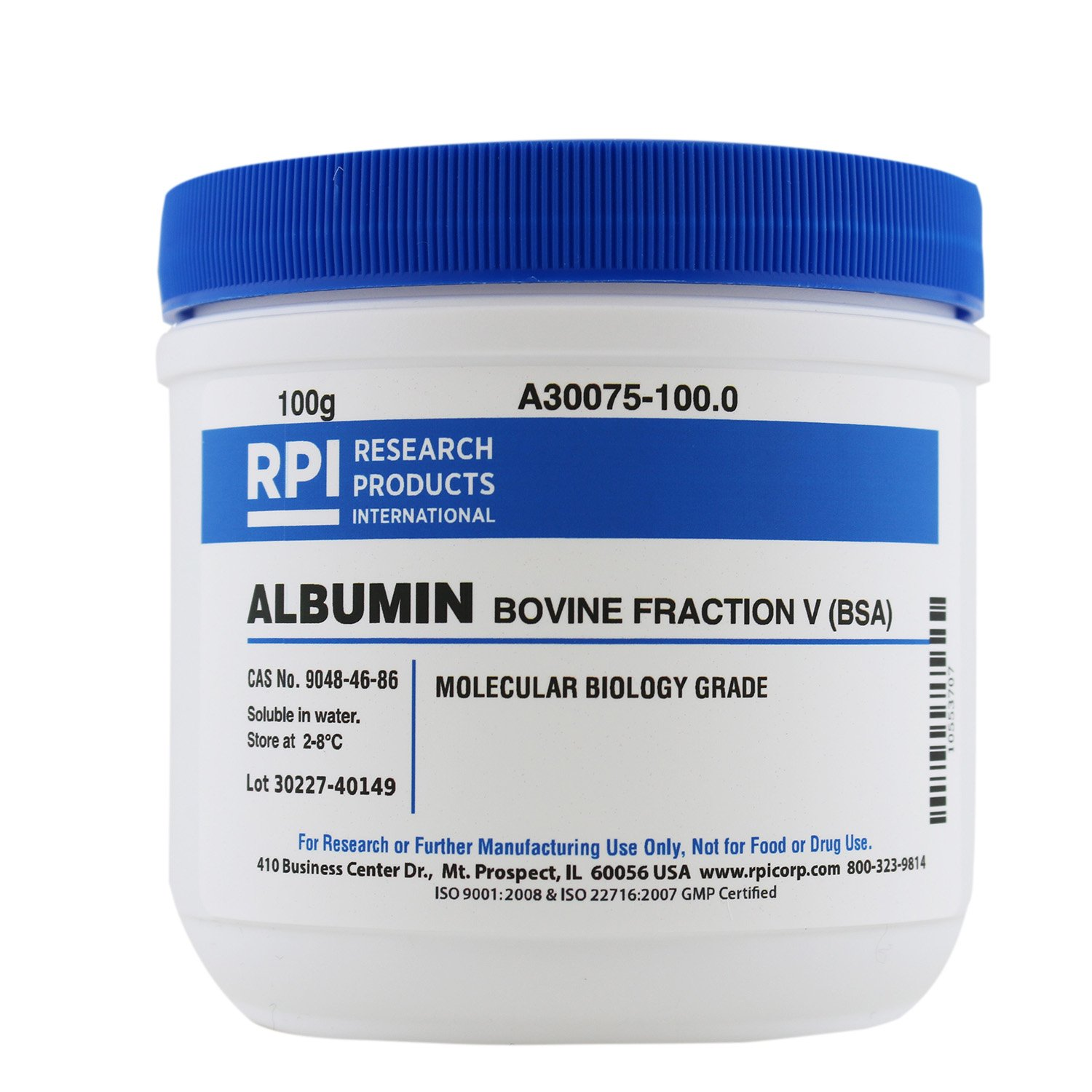 Albumin, Bovine Fraction V [BSA], 100 Grams RPI Corp.