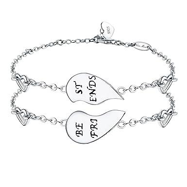 "0b0d9adbd NINAMAID ""Best Friends"" Engraved 925 Sterling Silver Half Heart Shaped  Inspirational Friendship Bracelets Set"