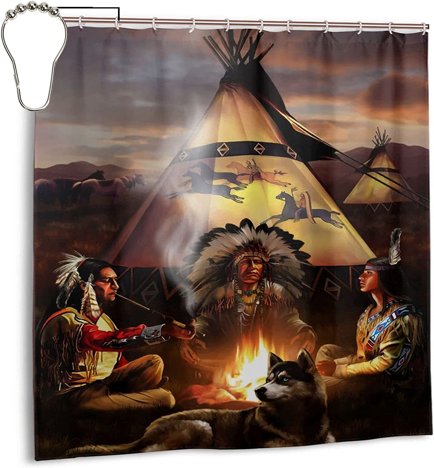 Gelingmei Native American Smoking Peace Pipe Shower Curtain,Waterproof Polyester Fabric,Bath Curtains Bathroom Decorations Home Decor Sets Beautiful Bathroom Decor with Hooks 72x72 Inch