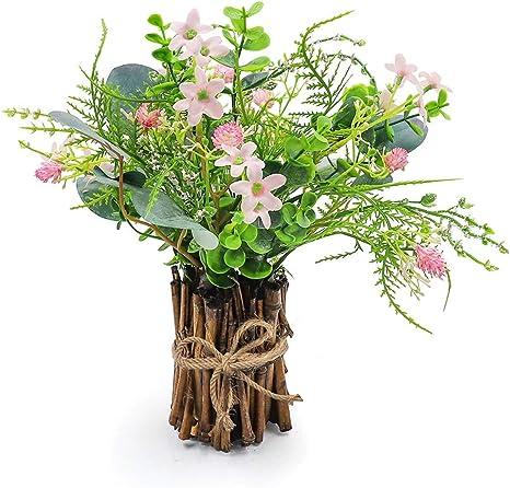 Artificial Flower Arrangement Fake Plastic Plant Bouquet Bunch Bundle With Bamboo Wood Stems Eucalyptus Pinecone Purslane Wildflower Greenery Decoration For Wedding Centerpiece Home Decor Home Kitchen