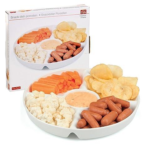 Plato de porcelana blanca con 5secciones para aperitivos, salsas o condimentos