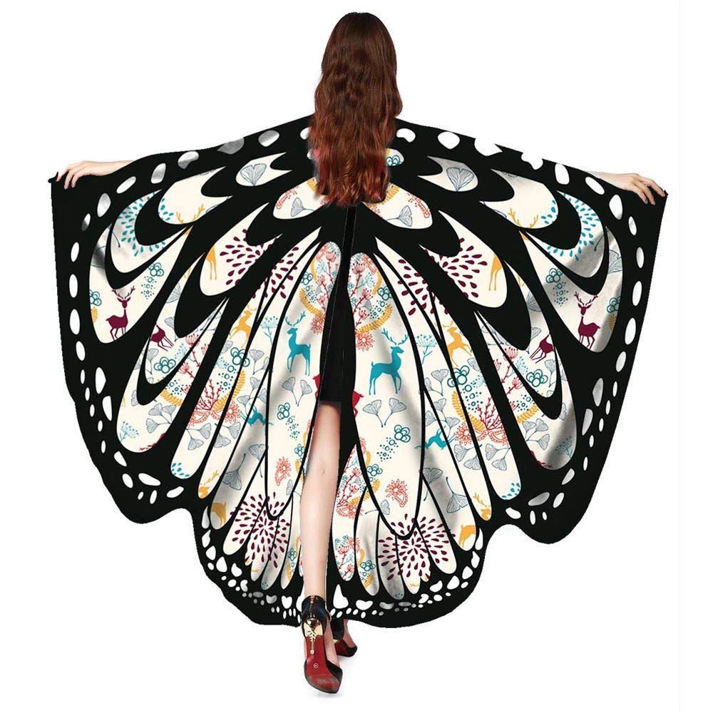 Women Christmas Butterfly Wings-Vovomay Shawl Scarves Poncho Costume Accessory (Beige)