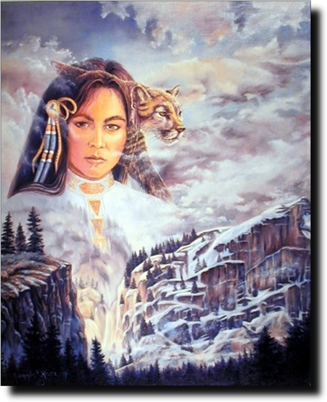 Native American Wall Decor Indian Princess and Mountain Lion Art Print Poster (16x20)
