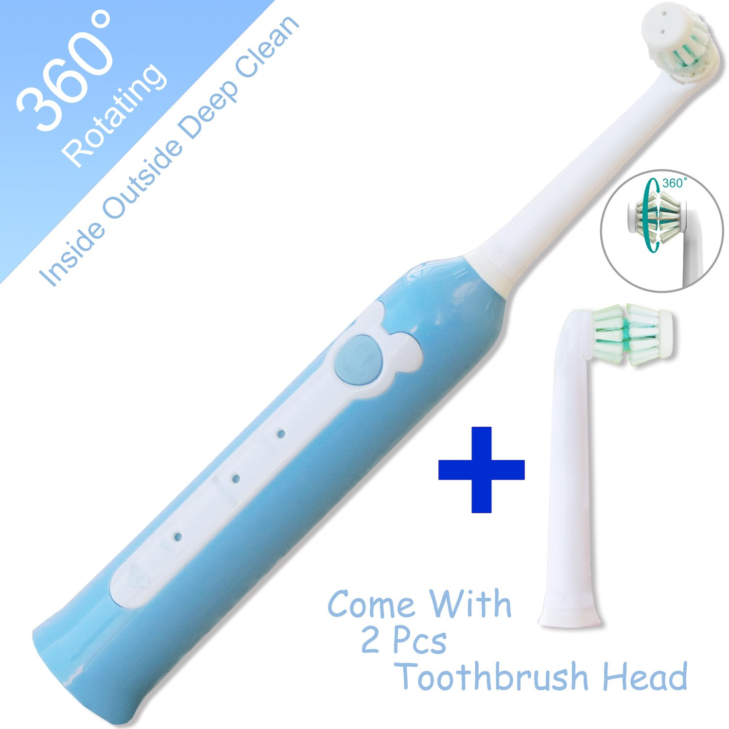 Best rechargeable toothbrush kids [WIRELESS CHARGING], NeWisdom 360° rotating deep clean 30s FAST brushing Rechargeable Electric Toothbrush (Blue 4-8)