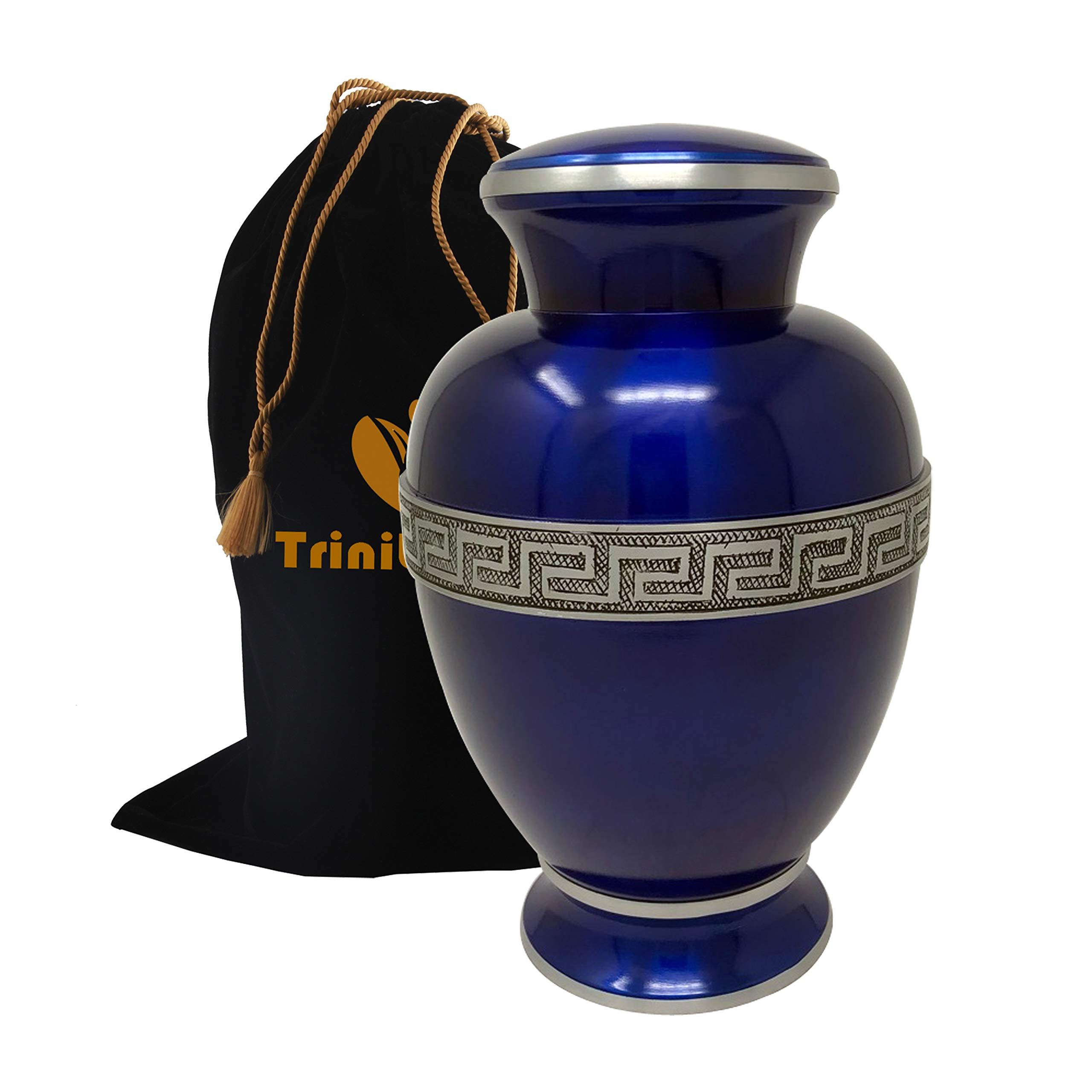 Zeus Sapphire Cremation Urn - Beautifully Handcrafted Adult Funeral Urn - Solid Metal Urn - Affordable Urn for Human Ashes with Free Velvet Bag (Blue)
