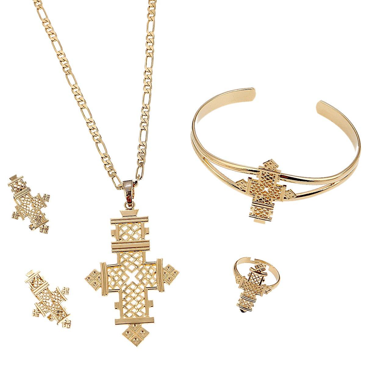 BR Gold Jewelry Croix /Éthiopienne Ensemble de bijoux Couleur or collier boucles doreilles Bague Bracelet Afrique Dubai Mariage Ensembles