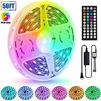 LED Strip Lights, 50ft/15M 5050 RGB 450 LEDs Strip Lights Non-Waterproof Rope Lights Color Changing Tape Light Kit with…