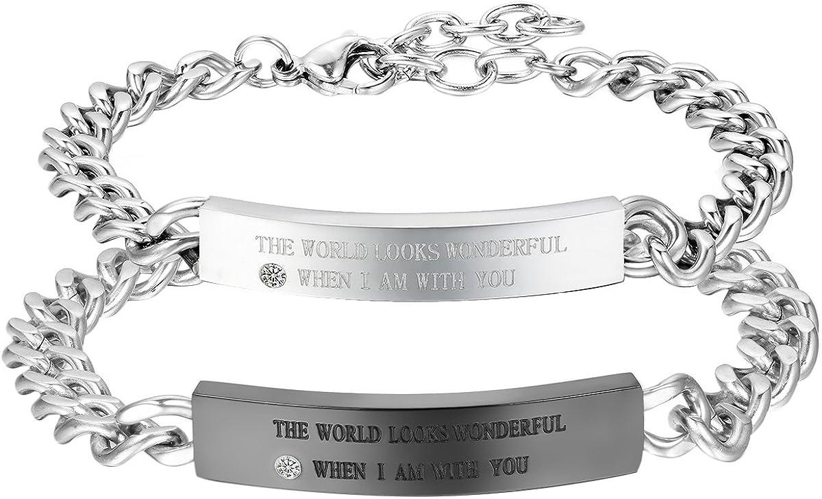 Women/'s Stainless Steel Open Heart Chain Link Eternity Love Promise Bracelet
