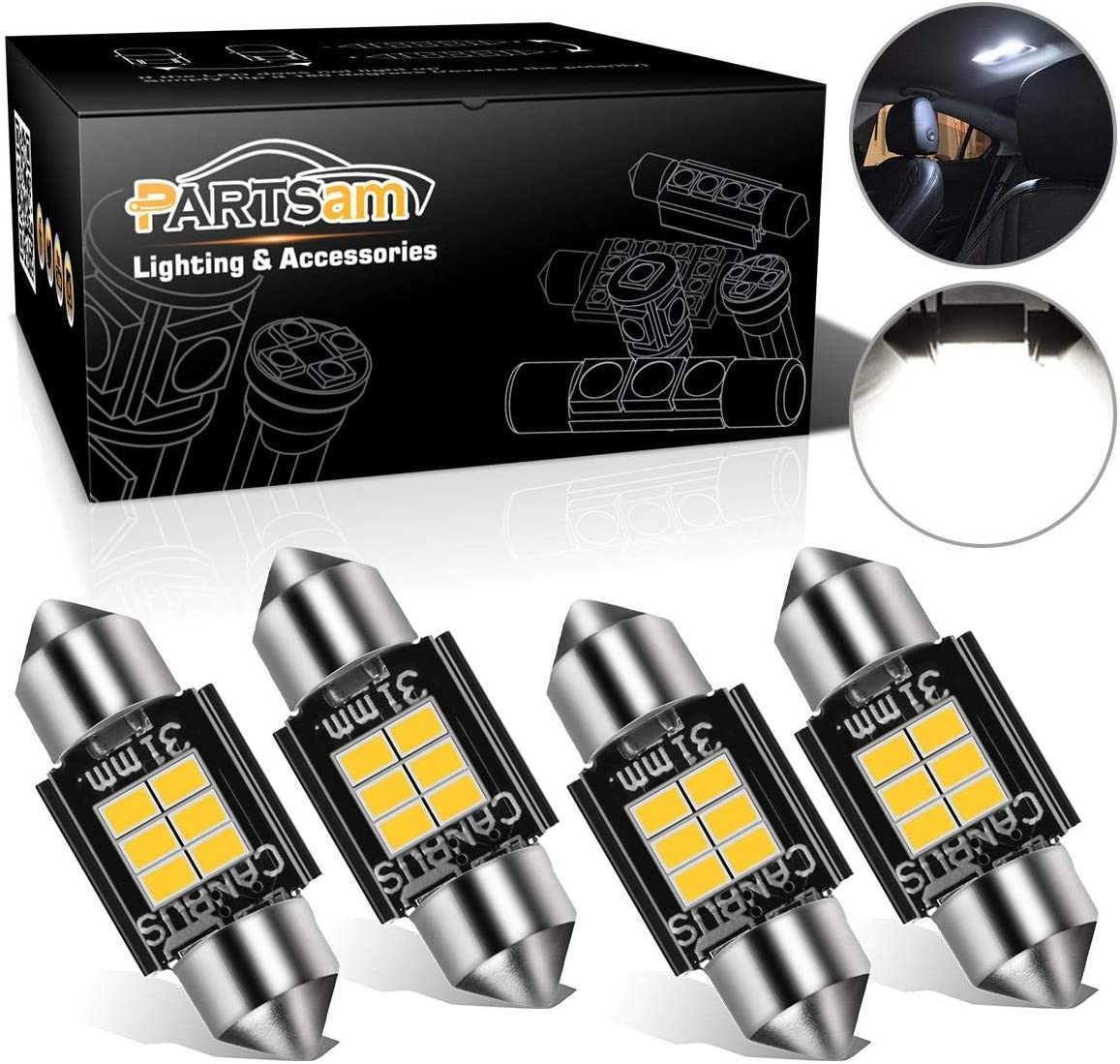 """1 Year Warranty CIIHON 31MM LED Bulb DE3175 DE3022 6428 1.25/"""" 6-3030SMD Interior Car Festoon Dome Map Lights Error Free Canbus License Plate 6000K White Replacement Pack of 4"""