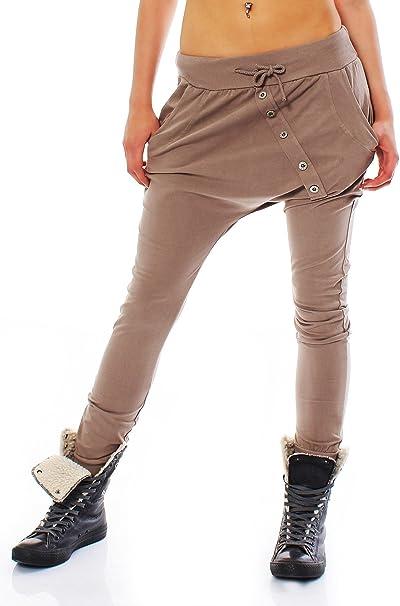 Fashion Italia Trendige Damen Hose mit schräger Knopfleiste