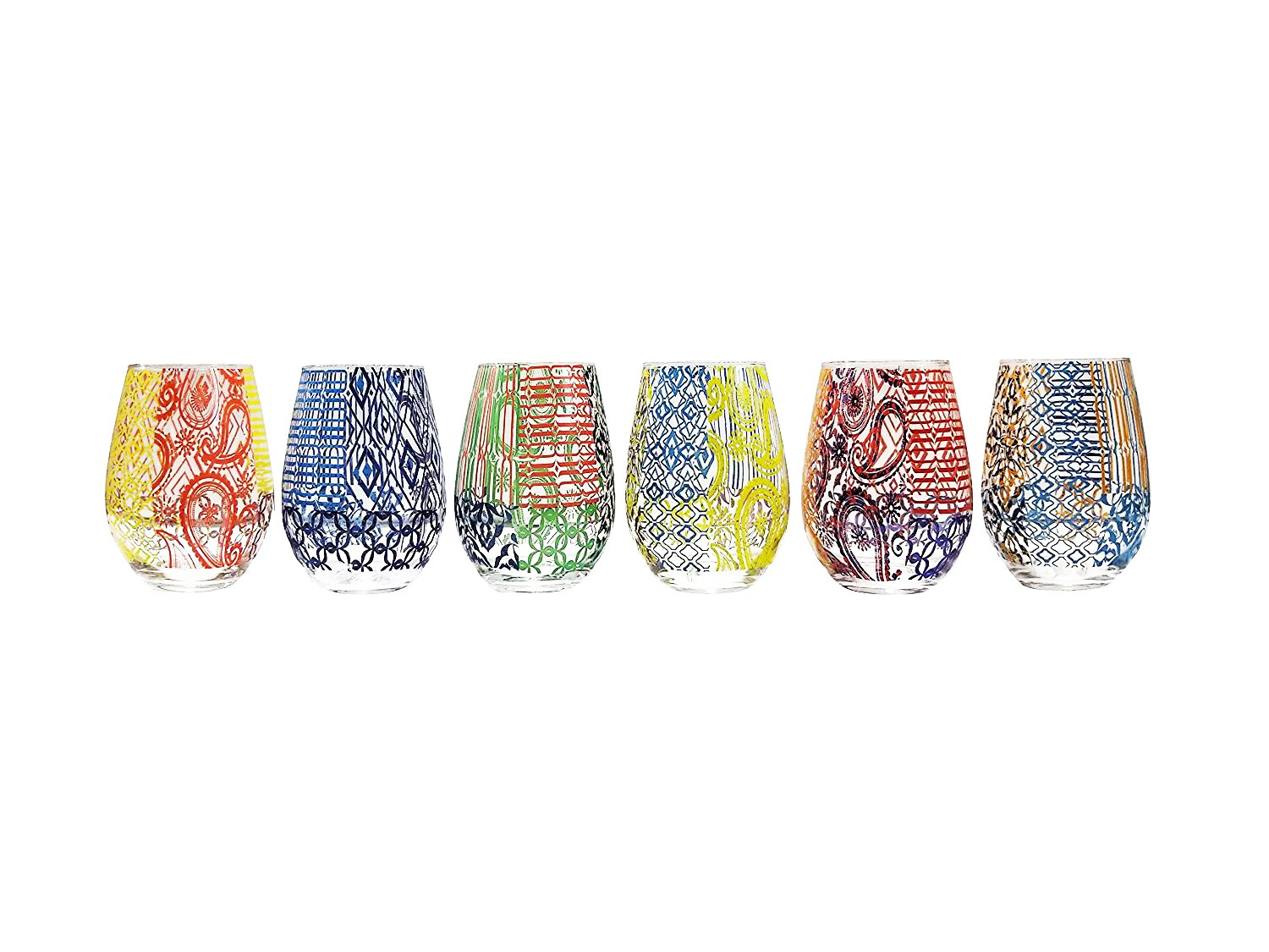 Tracy Porter 12 Oz. Tracy Porter Boho Chic Colored Party Stemless Wine Goblets Glasses Drinkware, Set of 6 Jay Imports