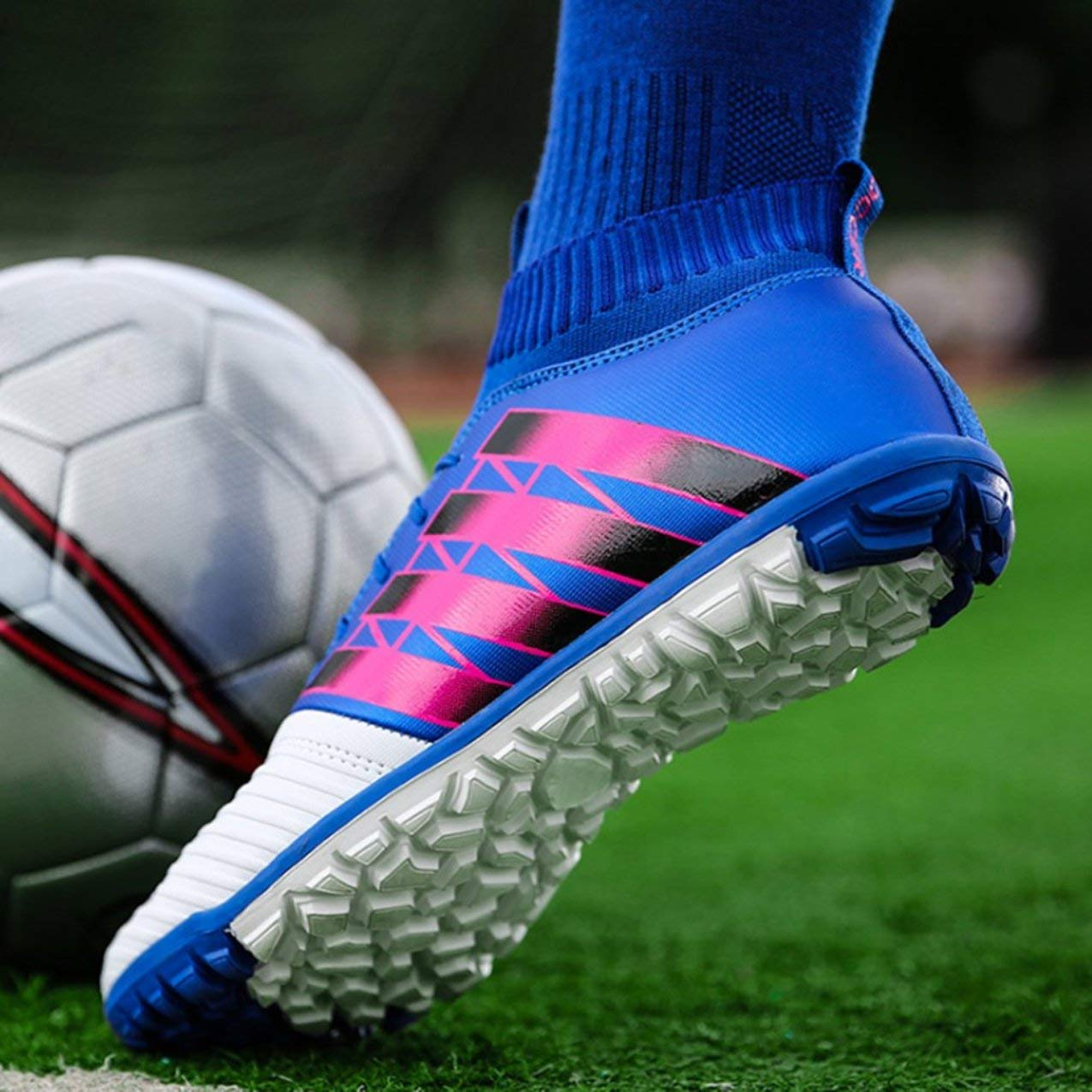 pretty nice 27c77 2aaa8 Redstrong Chaussures de Football Clou cassé Chaussures de Football Anti-dérapant  Chaussures de Sport de Football en Plein air Chaussures Crampons Adultes ...