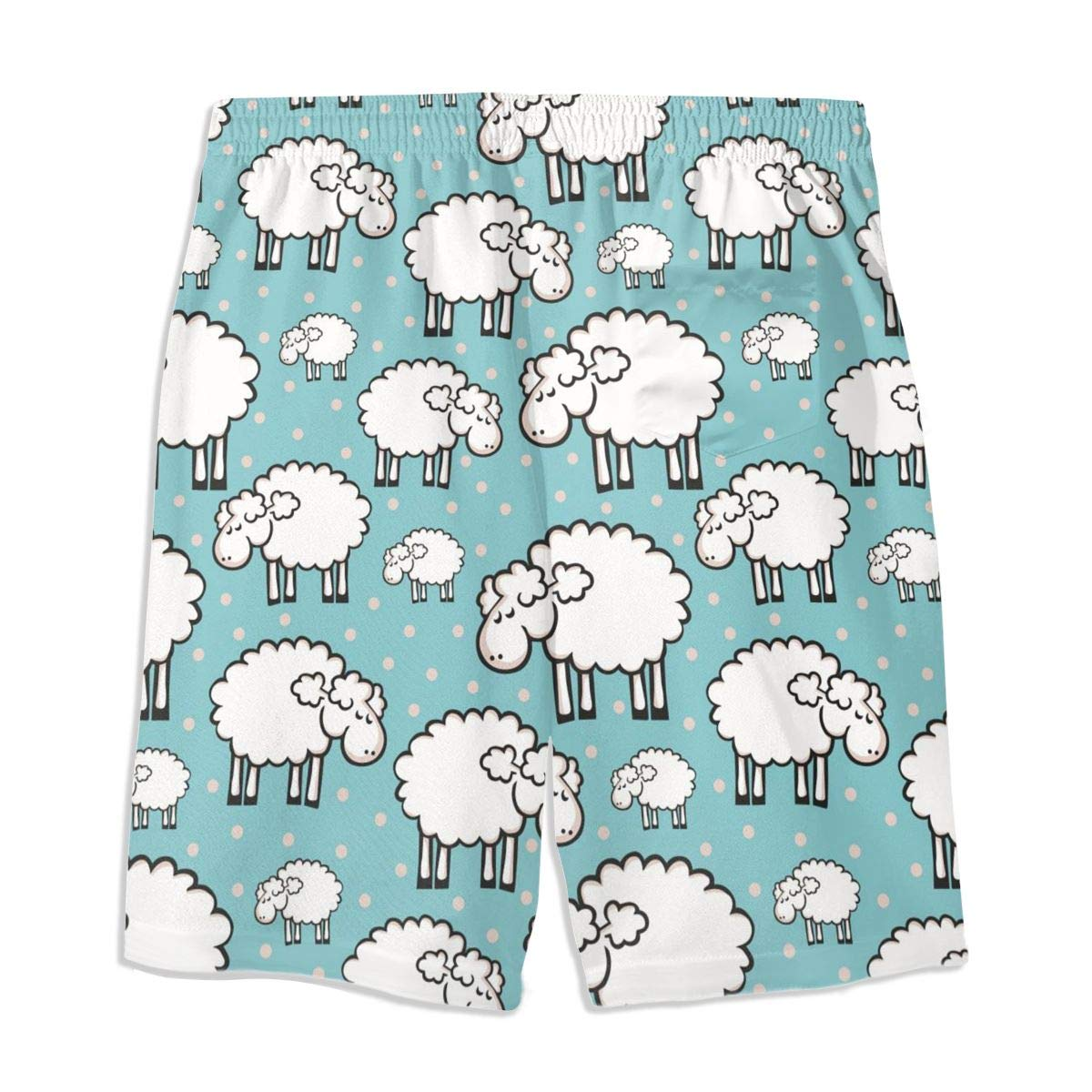 Mens Swim Trunks White Sheeps Printed Beach Board Shorts with Pockets Cool Novelty Bathing Suits for Teen Boys