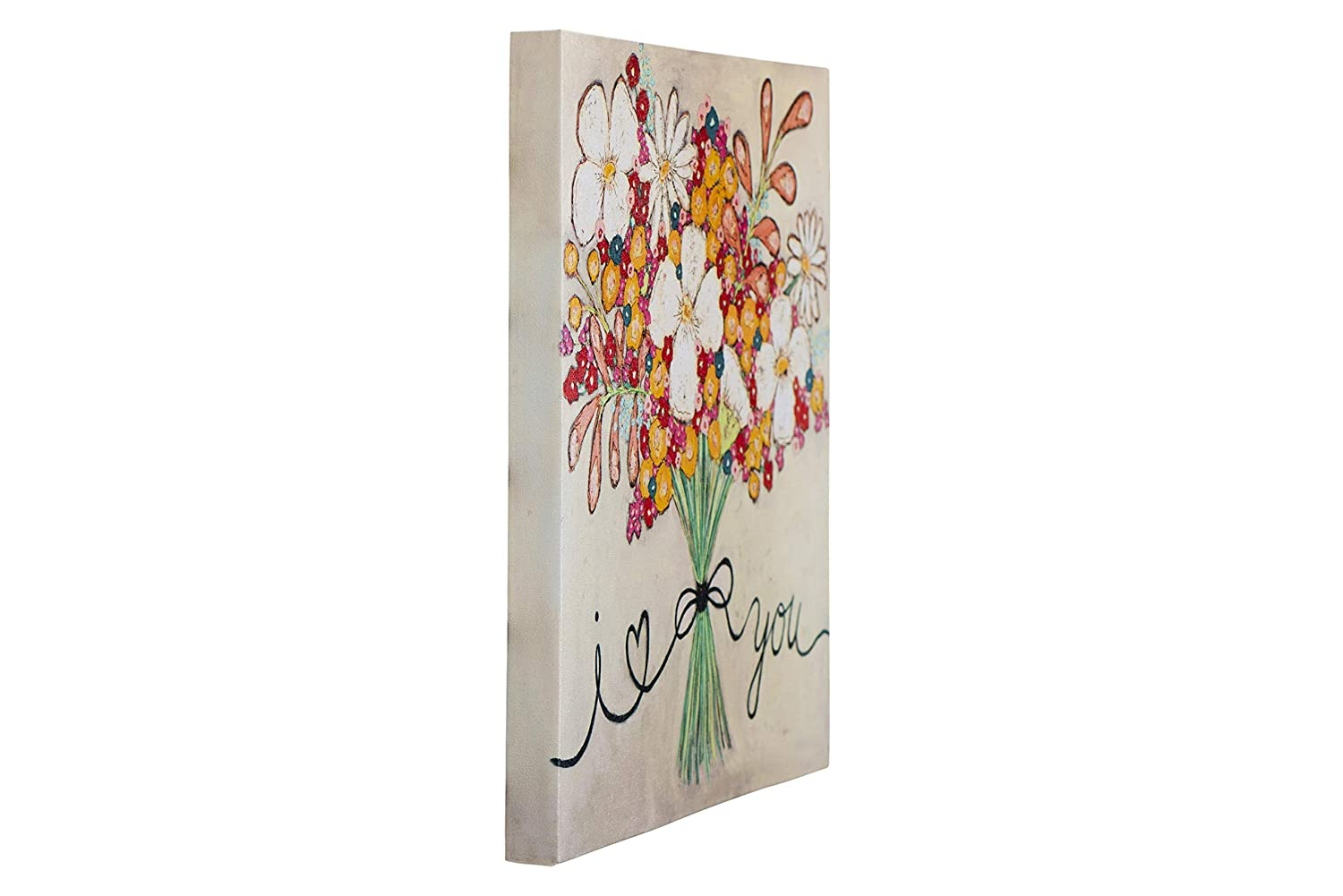 Creative Co-op Love You Floral Bouquet Canvas Wrapped Wall D/écor Multicolored