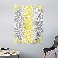 ABAKUHAUS Gris y Amarillo Tapiz de Pared y Cubrecama Suave, Color Suave Pastel Degradé Mandala Étnico Tribal Arte…