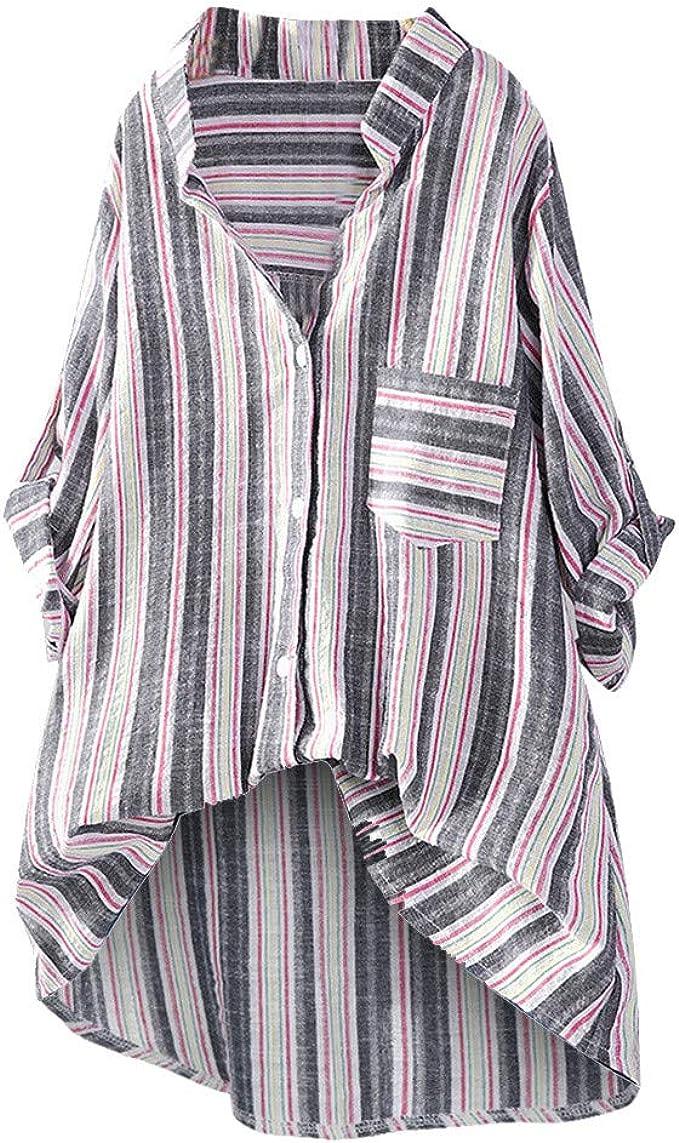 MOTOCO Camisa A Rayas de Mujer de TamañO Superior Camisa con Cuello En V BotóN Superior Bolsillo Delantero Casual Blusa TúNica Suelta(5XL, Negro): Amazon.es: Ropa y accesorios