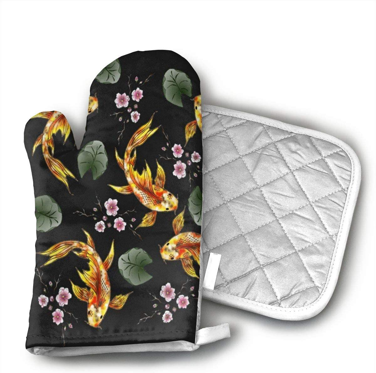 Klasl5 Gold Fish and Cherry Blossoms Oven Mitts,Heat Resistant Oven Gloves,Non-Slip Cooking Gloves,Washable Kitchen Mitts for Baking, Barbecue.