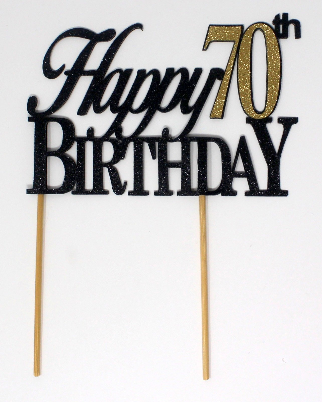 All About Details Happy 70th Birthday Cake Topper,1pc, 70th Birthday, Cake Decoration, Party Decor (Black & Gold)