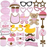 Tinksky 29pcs Baby Shower Photo Props, Baby Bottle Masks Pink Photobooth Props Newborn Girl Gift Party Decorations