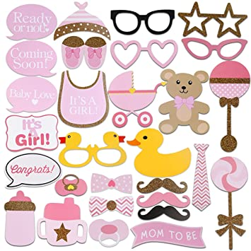 Good Tinksky 29pcs Baby Shower Photo Props, Baby Bottle Masks Pink Photobooth  Props Newborn Girl Gift