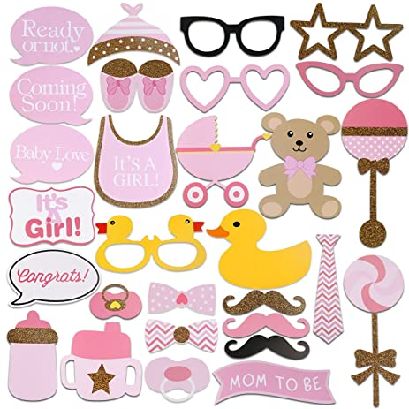 Tinksky 29pcs Baby Shower Photo Props, Baby Bottle Masks Pink Photobooth  Props Newborn Girl Gift