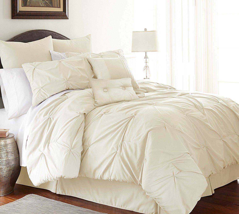 Pacific Coast Textiles 38EMBCFB-ELG-KG 8-Piece Ella Embellished Comforter Set, King, Platinum