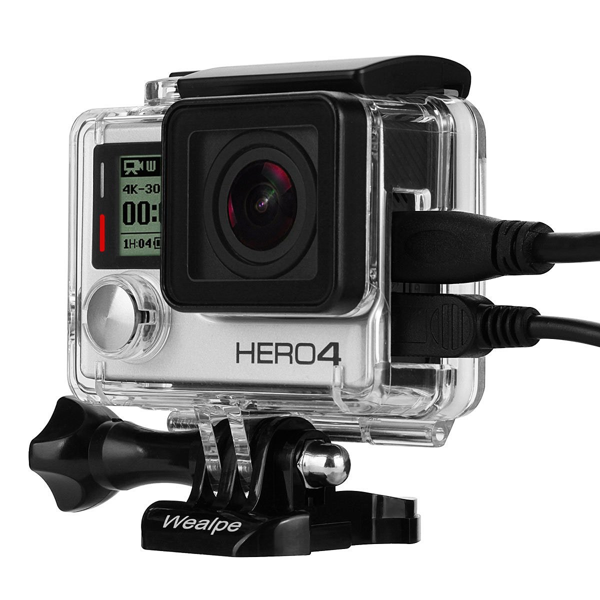Wealpe Skeleton Housing Case Side Open Protective Housing with LCD Touch Backdoor for GoPro Hero 4, 3+, 3 Cameras