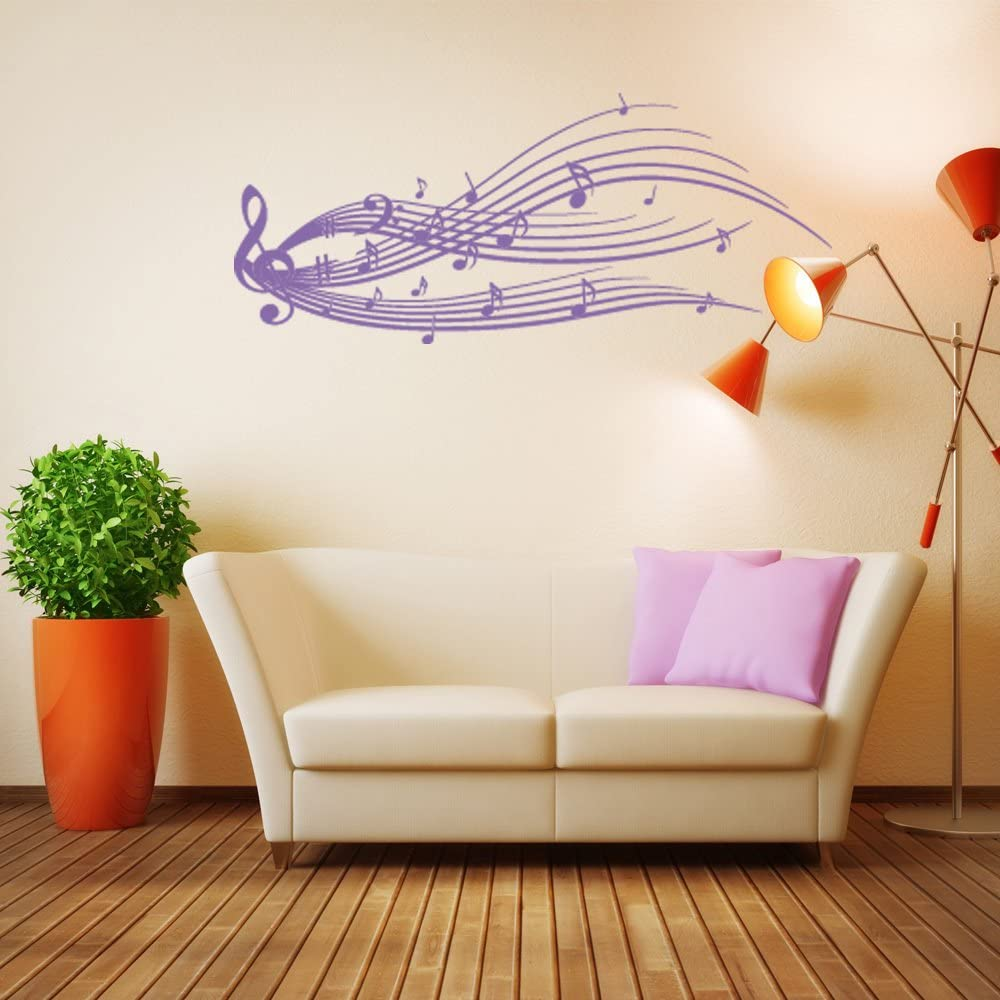 Music Staff Wall Decal by Style & Apply - Musical Notes Wall Sticker, Treble Clef Vinyl Wall Art, Music Home Decor, Music Notes Wall Mural - 2191-24in x 10in, Lavender