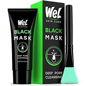 Wel Black Peel Off Face Mask - Charcoal Face Masks - Blackhead Remover Mask with Brush - Facial Mask - Deep Pores Cleansing, SkinCare