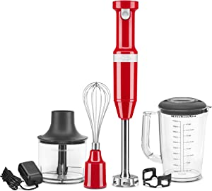 KitchenAid KHBBV83PA Cordless Variable Speed Hand Blender with Chopper and Whisk Attachment, Passion Red