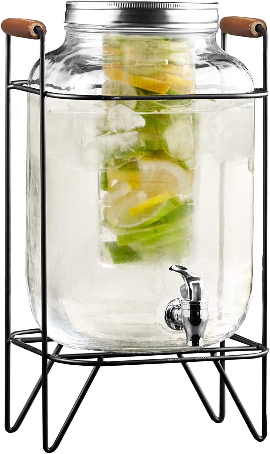 Style Setter Beverage Dispenser Cold Drink Dispenser w/ 2-Gallon Capacity Glass Jug, Metal Stand & Leak-Proof Acrylic Spigot, Metal Lid, Great for Parties, Weddings & More