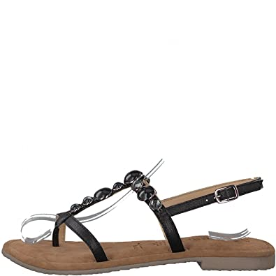 Tamaris Zehensteg Sandalen 1-28112-20 Metallic Zehentrenner Sandalette, Schuhgröße:37;Farbe:Schwarz