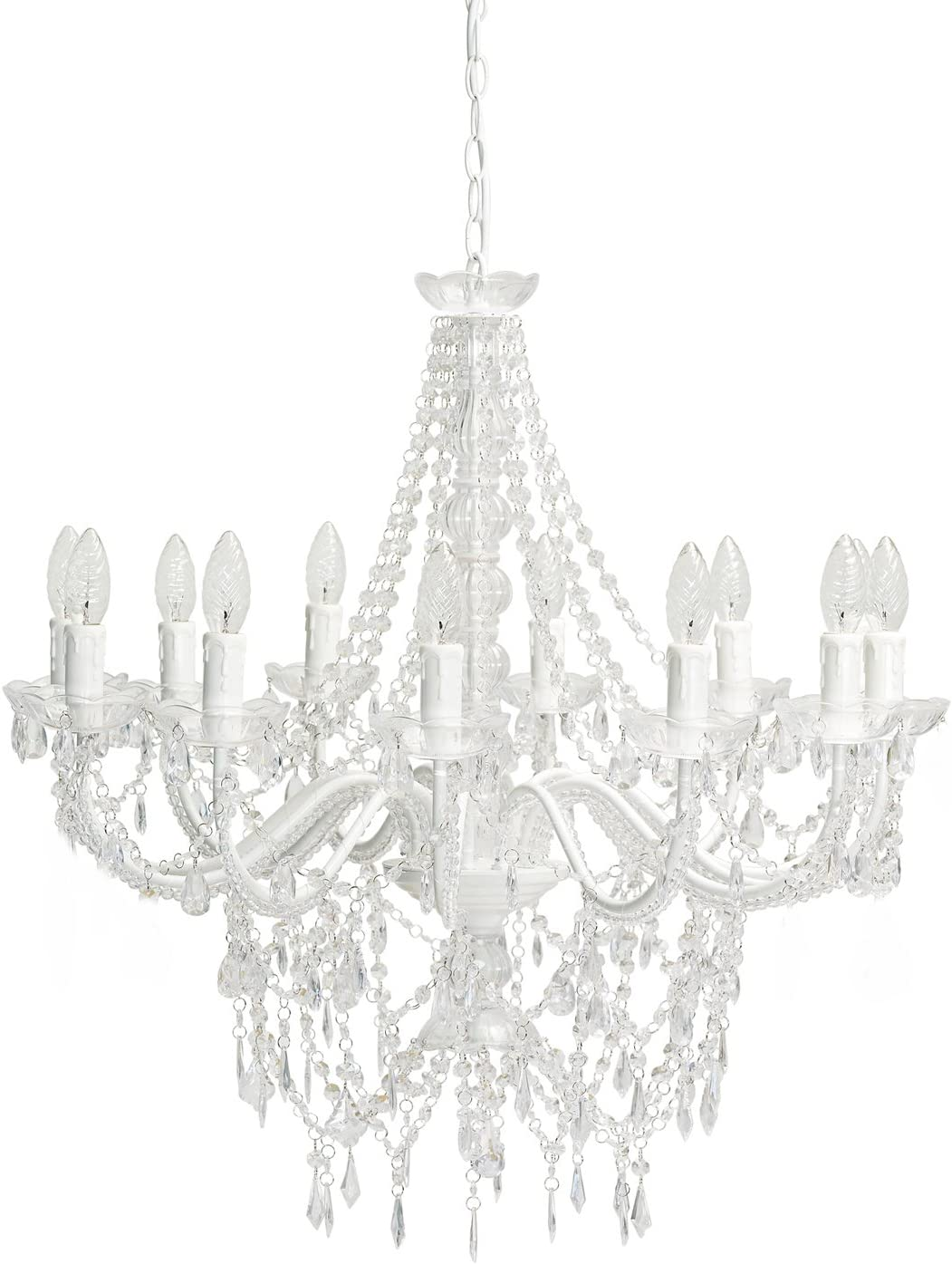 Großer 12-armiger Kronleuchter weiß mit Kristallen H70cm: Amazon.de: Beleuchtung - Kronleuchter