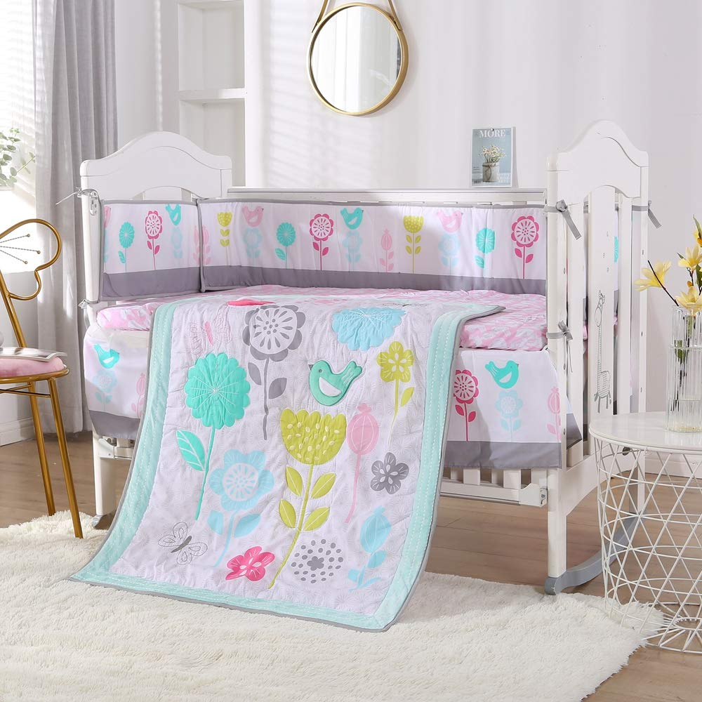 Wowelife Crib Bedding Sets for Girls Upgraded 7 Piece Colorful Flowers Birds Nursery Crib Set Light Blue,Green and Pink(Colorful Flower)