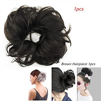 Amazon.com   merrylight Hair Bun Extension Buns Messy Ponytail Chignon Bun  hairpiece Hairpieces For Women (Brown-4)   Beauty bc5ce6ff55f