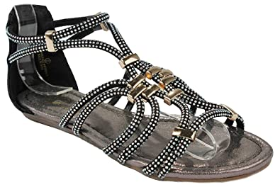 306ddd17a0c135 JJF Shoes Women Bianca Black Multi Sparkling Crystal Rhinestone Strappy Cut  Out Gladiator Flat Dress Sandals