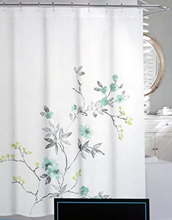 Cynthia Rowley Shabby Chic Fabric Shower Curtain Aqua Teal Blue Citrine Floral Branches On White Eleanor
