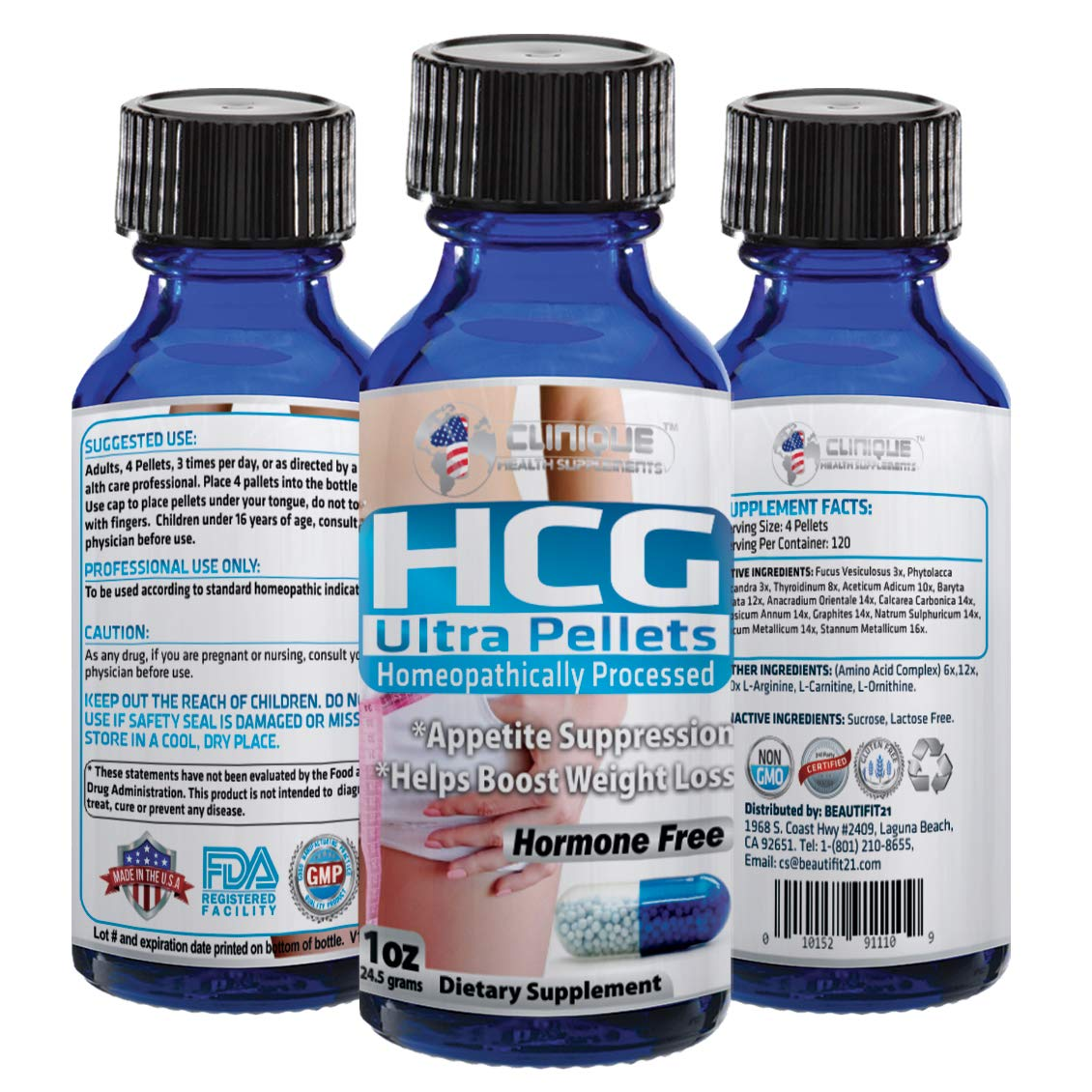 HCG Ultra Pellets | Fast Acting Pellets | 120 Pellets | Weight Loss - Energy - Appetite Suppression - Thyroid Balance | Made in USA by 1Clinique