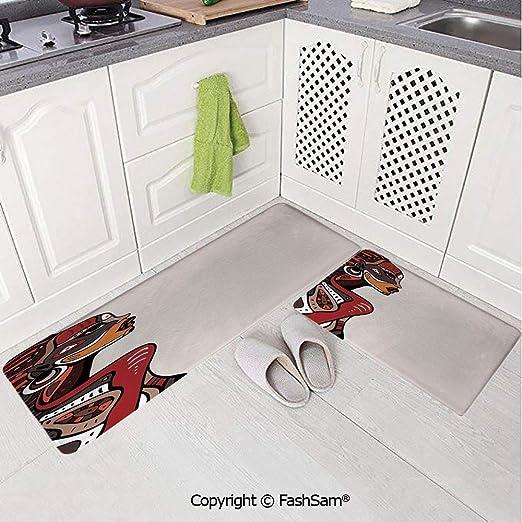 AmaUncle Alfombra de franela para piso de 2 piezas, diseño ...